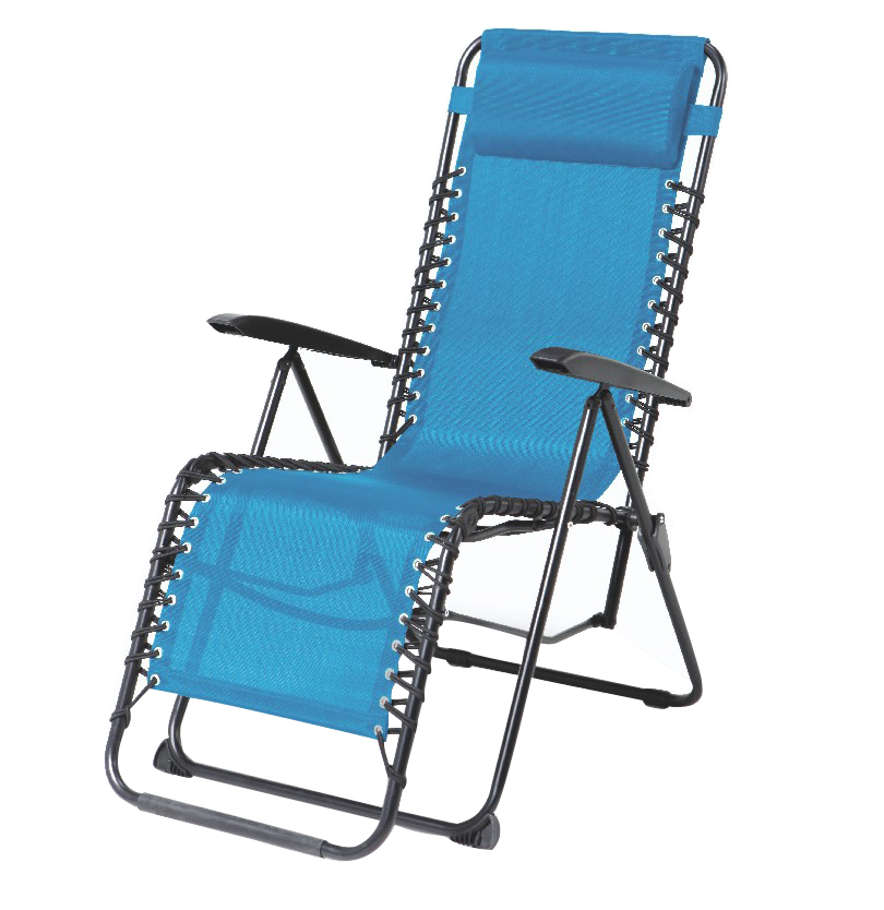 Blue Adjustable Folding Lounger With Movable Pillow