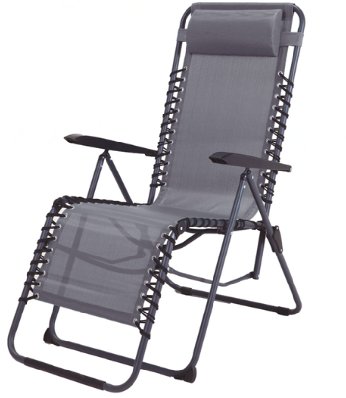 Grey Adjustable Folding Lounger With Double Bungee Cord On Sides
